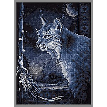 Tableau à broder 'lynx', 23,5 x 32,5 cm