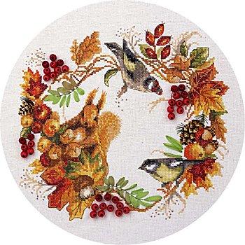 Tableau à broder avec décorations en perles 'écureuil', 26,5 x 24,5 cm