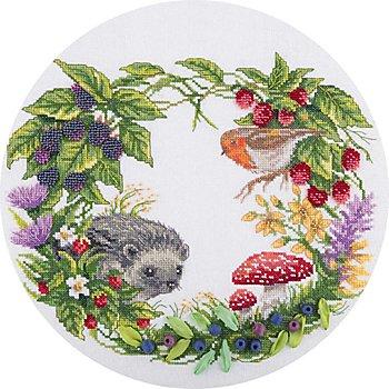 Stickbild 'Igel mit Perlen', 26,5 x 24,5 cm