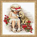 """Tableau à broder """"fille avec son chien"""", 30 x 30 cm"""