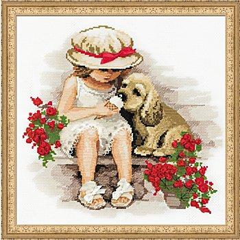 Tableau à broder 'fille avec son chien', 30 x 30 cm