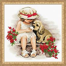Stickbild 'Mädchen mit Hund', 30 x 30 cm