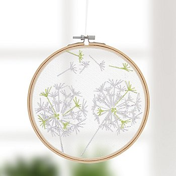 Stickbild 'Pusteblume auf Tüll', Ø 17,8 cm