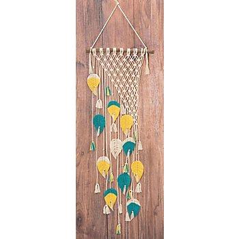 Kit macramé déco murale 'plumes colorées'