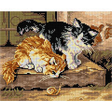 Broderie sur canevas 'chatons', 18 x 24 cm