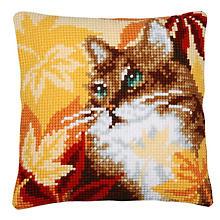 Kreuzstichkissen 'Katze Herbst'