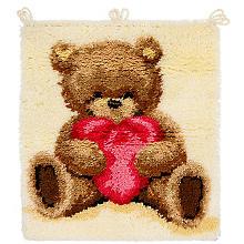 Knüpfteppich 'Teddybär mit Herz', 55 x 60 cm
