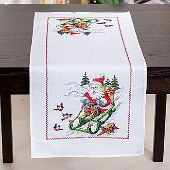 Chemin de table à broder 'père Noël en luge'