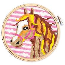 Tableau à broder 'cheval', tambour inclus, 16 cm Ø