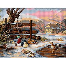 Gobelin 'Enten im Winter', 30 x 40 cm