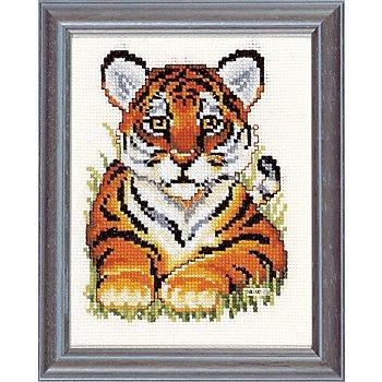 Tableau à broder 'petit tigre', 13 x 17 cm