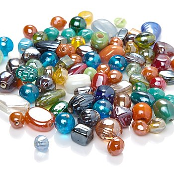 Set de perles en verre, multicolore, 5 - 15 mm, 100 g