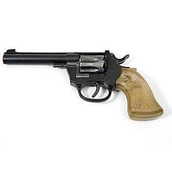 Pistolet de cowboy à pétards, noir/marron/argent, 20 cm