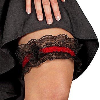 Jarretière sexy, rouge/noir