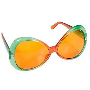 Brille, orange/grün