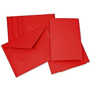 Doppelkarten & Hüllen, rot, A5 / C5, je 5 Stück