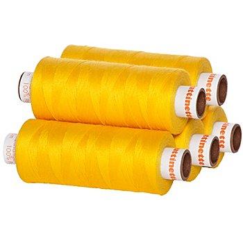 buttinette Universal-Nähgarn, Stärke: 100, 5er-Pack, gelb
