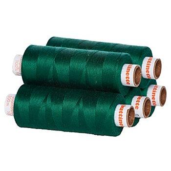 buttinette Lot de 5 bobines de fil à coudre universel, vert sapin, grosseur : 100