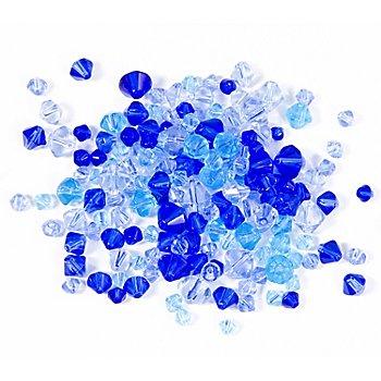 Facettierte Glasperlen, Blautöne, 4 - 8 mm, 50 g