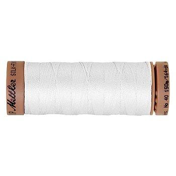 Mettler Silk Finish Cotton - Fil pour machine à coudre, blanc, grosseur : 40, 150 m