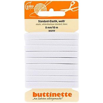 buttinette Gummiband 'Standard-Elastik', weiß, Breite: 8 mm, Länge: 10 m