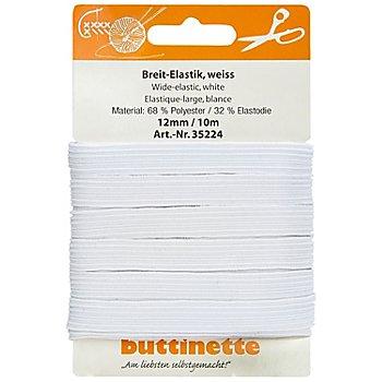 buttinette Gummiband 'Breit-Elastik', weiß, Breite: 12 mm, Länge: 10 m