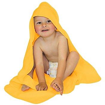 buttinette Sortie de bain pour enfants, avec capuche à broder, jaune, 80 x 80 cm