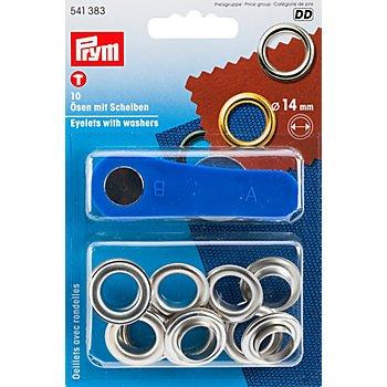 Prym Œillets sans couture, avec rondelles, dim. : 14 mm Ø, contenu : 10 pièces