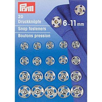 Prym Druckknöpfe zum Annähen, Größe: 6 - 11 mm Ø, Inhalt: 20 Stück