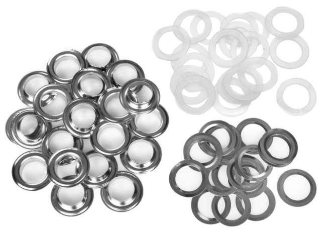 100 Ösen mit  Scheiben 11 mm innen 18 mm außen Silber farben inkl Werkzeug