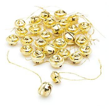 Grelots déco, doré, 2 tailles différentes, 28 pièces