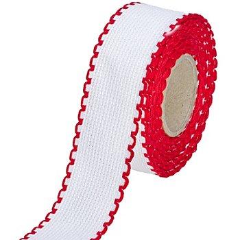 Aida-Stickband mit rotem Rand, Breite: 3 cm, 5m-Rolle
