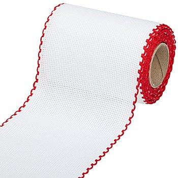 Ruban Aïda à broder, avec un bord rouge, largeur : 10 cm, rouleau de 5 m