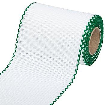 Aida-Stickband mit grünem Rand, Breite: 10 cm, 5m-Rolle