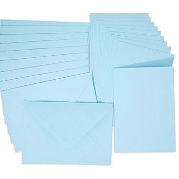 Set de 10 cartes doubles et enveloppes, bleu clair, A6/C6