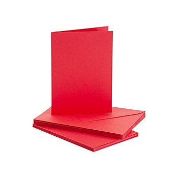Doppelkarten & Hüllen, rot, A6 / C6, je 10 Stück