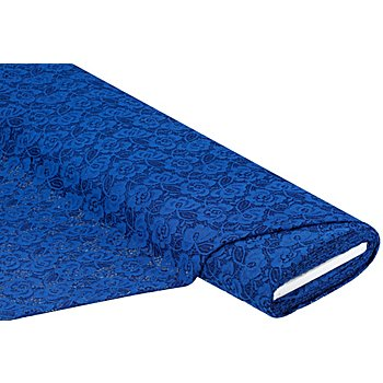 Tissu dentelle, bleu roi