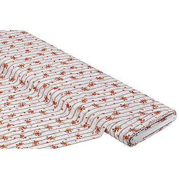 Tissu coton pour blouses 'fleurs', blanc délavé multicolore