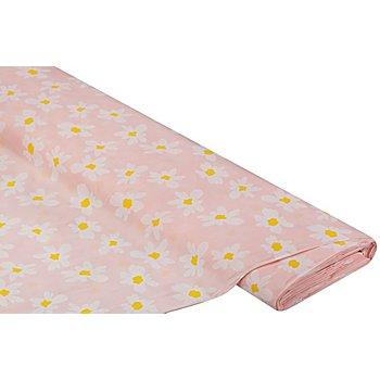 Baumwollstoff 'Margeriten', rosa/weiß