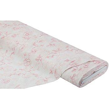 Bestickter Baumwoll-Batist 'Blumen', weiß/rosa