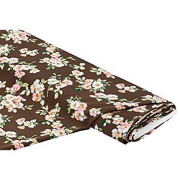 Viskose-Blusenstoff – Javanaise 'Blüten', braun/rosa