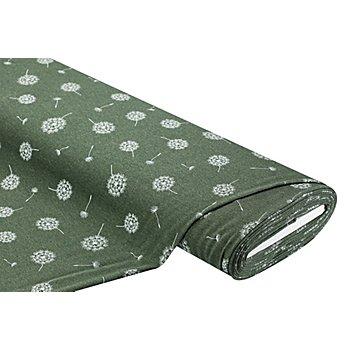 Tissu sweat-shirt 'aigrette de pissenlit' , olive chiné/blanc