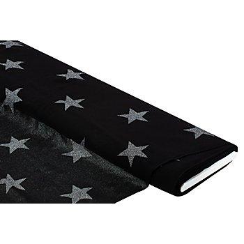 Viskose-Crêpe 'Sterne', schwarz/silber