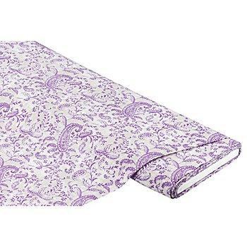 Tissu javanaise 'ramages de fleurs', écru/violet