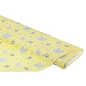 Tissu popeline biologique 'éléphant & panda', jaune