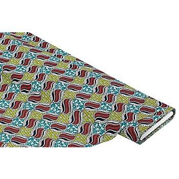 Tissu popeline en coton biologique 'Afrique', turquoise/rouge