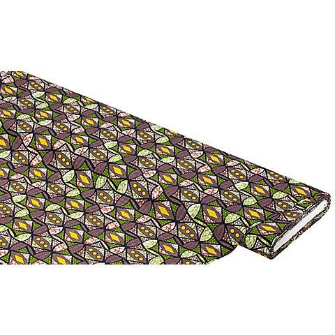 "Image of Bio-Popeline ""Afrika"", grün/gelb"