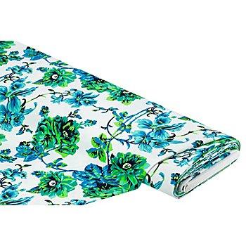 Elastik-Gewebe 'Blumen', grün-color