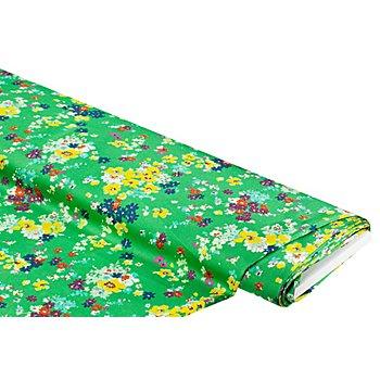 Tissu crêpe 'fleurs', vert gazon multicolore