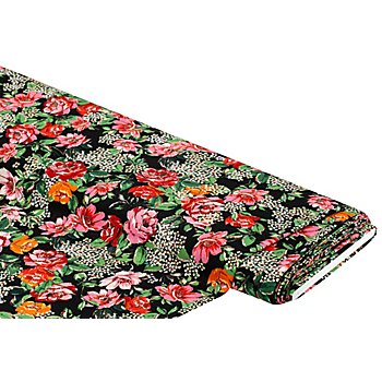 Crêpe 'Blumen', schwarz/pink